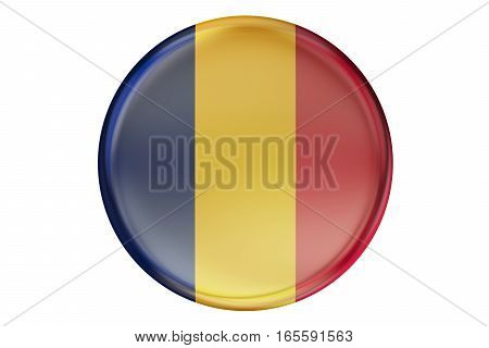 Badge with flag of Chad 3D rendering isolated on white background