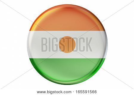 Badge with flag of Niger 3D rendering isolated on white background