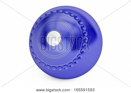 Blue Lawn Bowl closeup 3D rendering isolated on white background