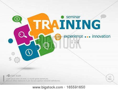 Training Word Cloud Concept On Colorful Jigsaw Puzzle.
