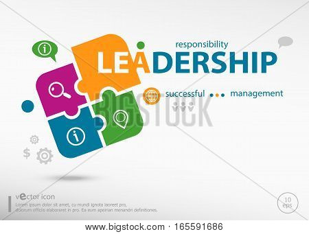 Leadership Word Cloud Concept On Colorful Jigsaw Puzzle.