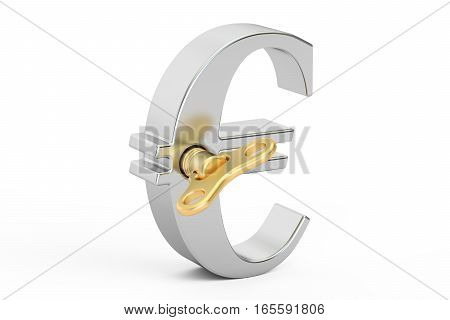 Steel Euro symbol with wind-up key 3D rendering