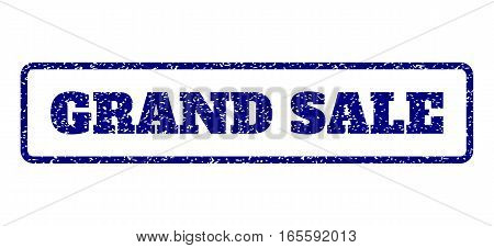 Navy Blue rubber seal stamp with Grand Sale text. Vector message inside rounded rectangular banner. Grunge design and dust texture for watermark labels. Horisontal sign on a white background.