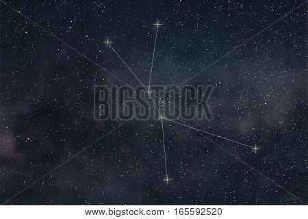 Cancer Constellation. Zodiac Sign Cancer Constellation Lines