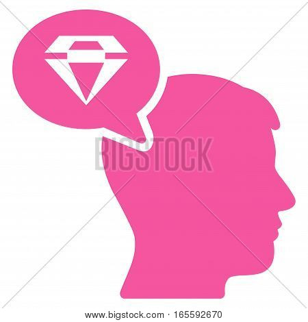 Diamond Thinking vector icon. Flat pink symbol. Pictogram is isolated on a white background. Designed for web and software interfaces.