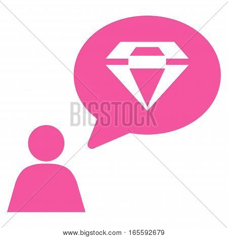 Diamond Thinking Person vector icon. Flat pink symbol. Pictogram is isolated on a white background. Designed for web and software interfaces.