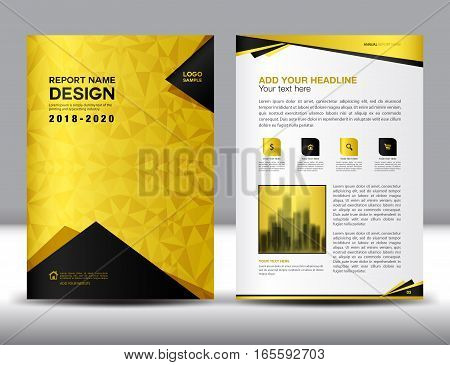 Business brochure flyer template in A4 size, Gold Cover design, Annual report, magazine ads, catalog layout, advertisement vector