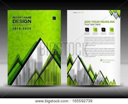 Business brochure flyer template in A4 size, Green Cover design, Annual report, magazine ads, catalog, advertisement vector