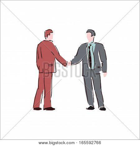 Sketch illustration of shaking hands. Colorfull doodle