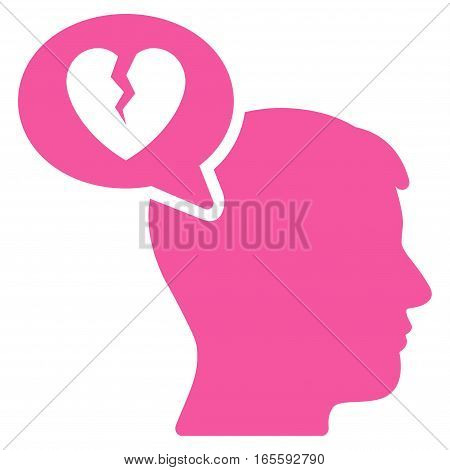 Divorce Thinking Man vector icon. Flat pink symbol. Pictogram is isolated on a white background. Designed for web and software interfaces.