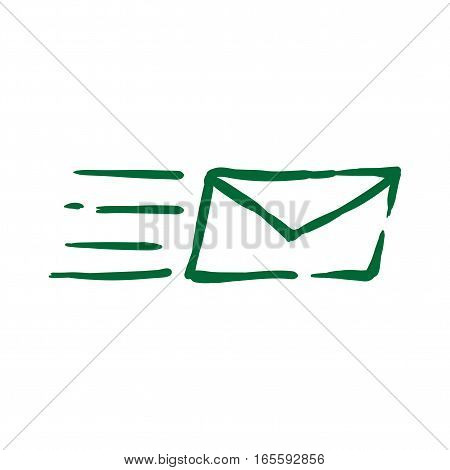 Sending mail hand drawn line ink doodle icon. Sketch icon for infographic, website or app with uneven edges