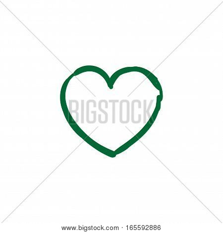 hand drawn love isolated icon, vector ink doodle heart sign. Sketch icon for infographic, website or app with uneven edges