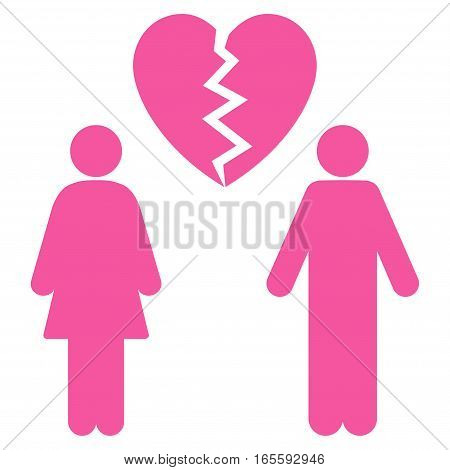 Family Divorce vector icon. Flat pink symbol. Pictogram is isolated on a white background. Designed for web and software interfaces.