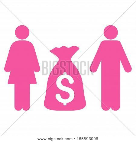 Family Money Deposit vector icon. Flat pink symbol. Pictogram is isolated on a white background. Designed for web and software interfaces.