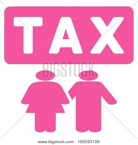 Family Tax Pressure vector icon. Flat pink symbol. Pictogram is isolated on a white background. Designed for web and software interfaces.