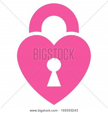 Heart Lock vector icon. Flat pink symbol. Pictogram is isolated on a white background. Designed for web and software interfaces.