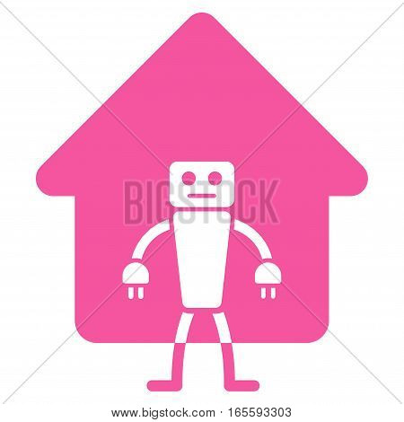 Home Robot vector icon. Flat pink symbol. Pictogram is isolated on a white background. Designed for web and software interfaces.