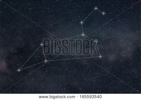 Leo Constellation. Zodiac Sign Leo constellation lines