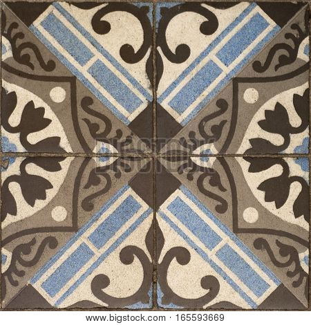 old tiles seamless antique pattern blue and brown