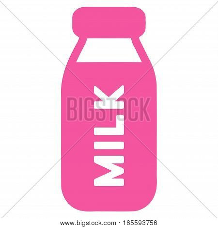 Milk Bottle vector icon. Flat pink symbol. Pictogram is isolated on a white background. Designed for web and software interfaces.