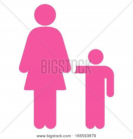 Mother Child vector icon. Flat pink symbol. Pictogram is isolated on a white background. Designed for web and software interfaces.