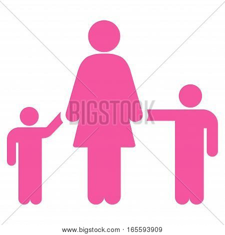Mother Children vector icon. Flat pink symbol. Pictogram is isolated on a white background. Designed for web and software interfaces.