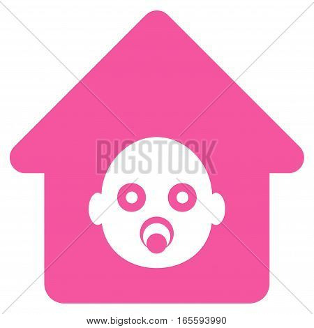 Nursery House vector icon. Flat pink symbol. Pictogram is isolated on a white background. Designed for web and software interfaces.