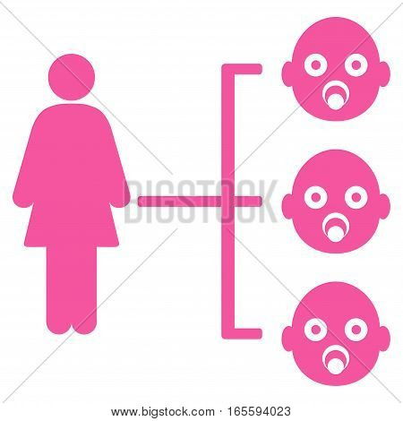 Nursery Kids Relations vector icon. Flat pink symbol. Pictogram is isolated on a white background. Designed for web and software interfaces.