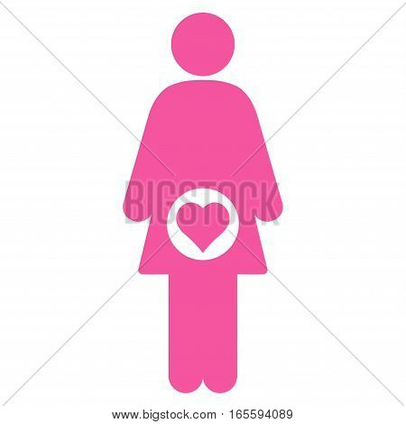 Pregnant Woman vector icon. Flat pink symbol. Pictogram is isolated on a white background. Designed for web and software interfaces.