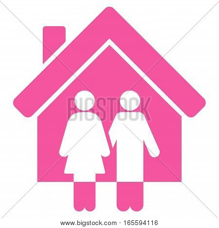 Property vector icon. Flat pink symbol. Pictogram is isolated on a white background. Designed for web and software interfaces.