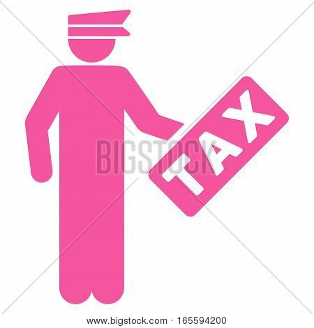 Tax Officer vector icon. Flat pink symbol. Pictogram is isolated on a white background. Designed for web and software interfaces.