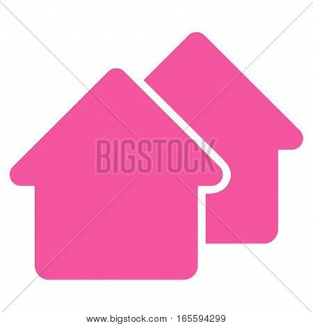Village vector icon. Flat pink symbol. Pictogram is isolated on a white background. Designed for web and software interfaces.