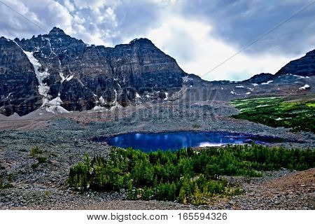 Wilderness  in rocky mountains. Eiffel Lake. Canadian Rockies. Banff National Park. British Columbia. Canada.
