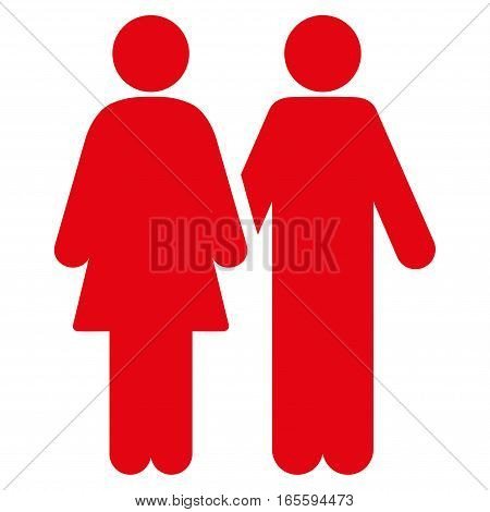 Adult Pair vector icon. Flat red symbol. Pictogram is isolated on a white background. Designed for web and software interfaces.