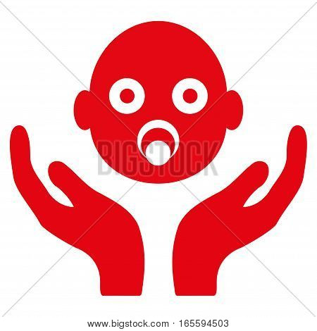 Baby Care Hands vector icon. Flat red symbol. Pictogram is isolated on a white background. Designed for web and software interfaces.