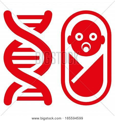 Baby Genetics vector icon. Flat red symbol. Pictogram is isolated on a white background. Designed for web and software interfaces.