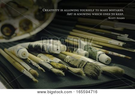 Artistic still life with quote about art