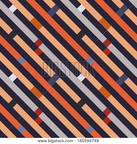 Seamless geometric stripy pattern. Texture of diagonal strips, lines. Rectangles on orange, blue, gray striped background. Vector