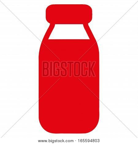 Bottle vector icon. Flat red symbol. Pictogram is isolated on a white background. Designed for web and software interfaces.