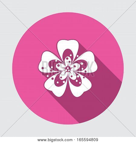 Primula flower icons. Spring flowers. Floral symbol. Round blue flat icon with long shadow. May be used in cuisine. Vector isolated.