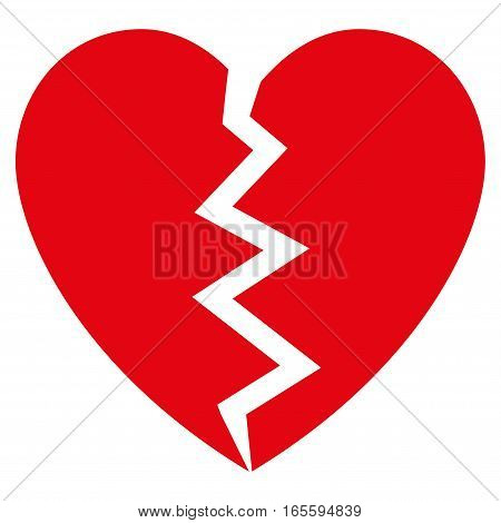 Broken Heart vector icon. Flat red symbol. Pictogram is isolated on a white background. Designed for web and software interfaces.