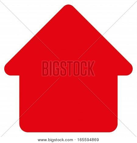 Cabin vector icon. Flat red symbol. Pictogram is isolated on a white background. Designed for web and software interfaces.