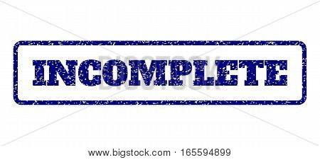 Navy Blue rubber seal stamp with Incomplete text. Vector caption inside rounded rectangular shape. Grunge design and dirty texture for watermark labels. Horisontal emblem on a white background.