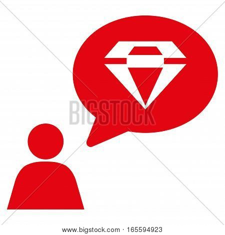 Diamond Thinking Person vector icon. Flat red symbol. Pictogram is isolated on a white background. Designed for web and software interfaces.
