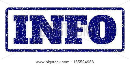 Navy Blue rubber seal stamp with Info text. Vector caption inside rounded rectangular banner. Grunge design and dirty texture for watermark labels. Horisontal sticker on a white background.