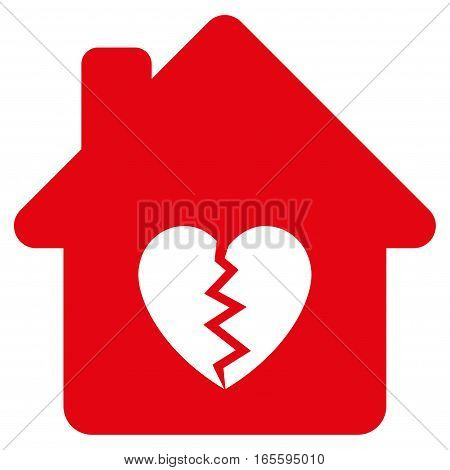Divorce House Heart vector icon. Flat red symbol. Pictogram is isolated on a white background. Designed for web and software interfaces.