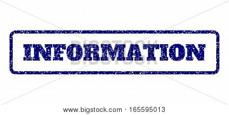Navy Blue rubber seal stamp with Information text. Vector message inside rounded rectangular banner. Grunge design and scratched texture for watermark labels. Horisontal sticker on a white background.