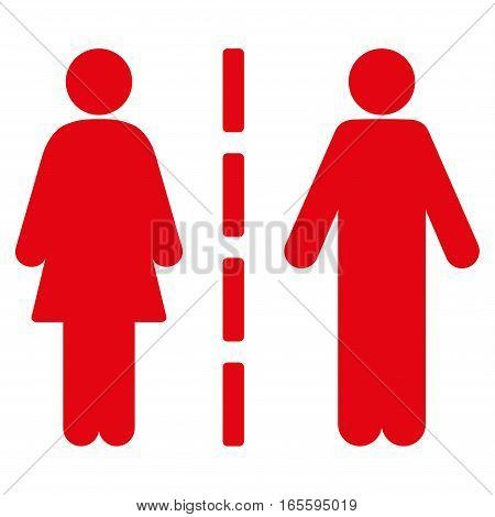 Divorce Line vector icon. Flat red symbol. Pictogram is isolated on a white background. Designed for web and software interfaces.