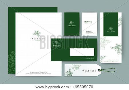 Branding identity template corporate company design Set for business hotel resort spa luxury premium logo vector illustration