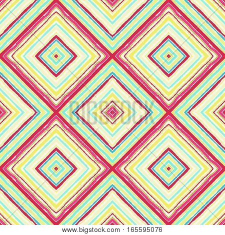 Striped diagonal rectangle seamless pattern. Square rhombus lines with torn paper effect. Ethnic background. Rosy, orange, green, colors. Vector